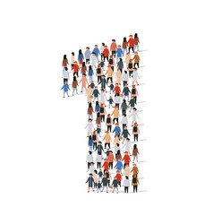 large group people in number 1 one form vector image