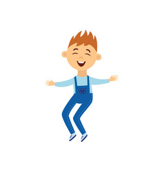 little boy jumping in air with happy smile vector image