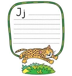 Little cheetah or jaguar for ABC Alphabet J vector
