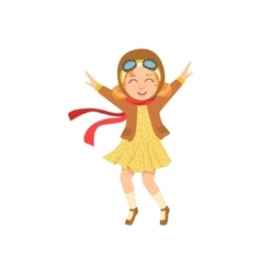 Little Girl In Vintage Pilot Leather Outfit vector image