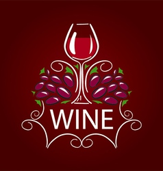 Logo glass of wine and grapes on burgundy vector