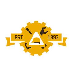 Logo on construction working helmet vector