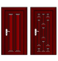 Luxury mahogany wooden door vector