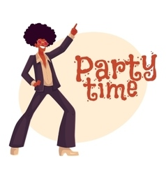 Man in afro wig and 1970s style clothes dancing vector image