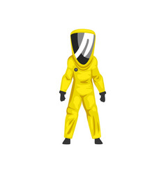 Man in yellow radiation protective suit and helmet vector