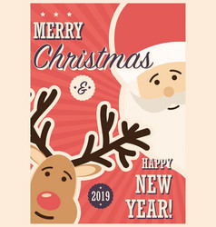 merry christmas card with santa claus and reindeer vector image