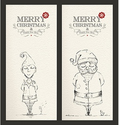 Merry Christmas unique hand drawn banner set vector