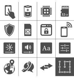 Mobile device settings icons vector