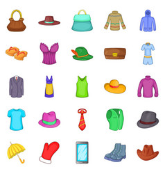 mode icons set cartoon style vector image