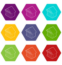 museum building icons set 9 vector image