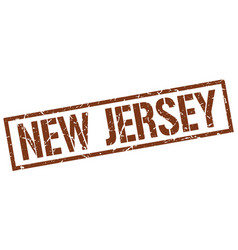 New jersey brown square stamp vector