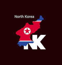 north korea initial letter country with map and vector image
