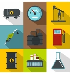 Oil production icons set flat style vector