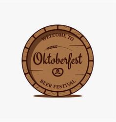 oktoberfest beer barrel logo on white background vector image
