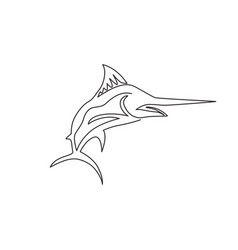 one single line drawing giant marlin for fresh vector image