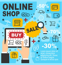 online shop sale and items order vector image