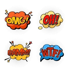 Onomatopoeia sounds omg and wtf oh and bam vector image