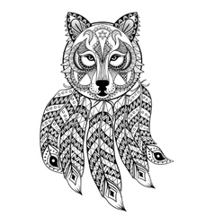 ornamental wolf with dreamcatcher ethnic vector image
