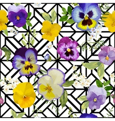 Pansy Flowers Background - Seamless Pattern vector image