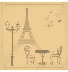 Paris landscape on vintage background vector