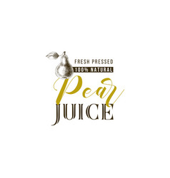 pear juice type design with hand drawn pear vector image