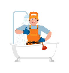 plumber and bath service repair and maintenance vector image