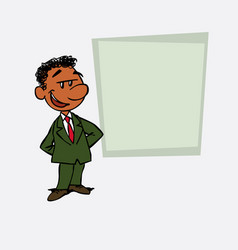 Quiet and relaxed black businessman is showing as vector