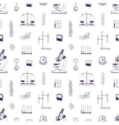realistic seamless pattern with chemistry and vector image