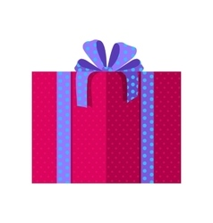 Red gift box with blue ribbon vector