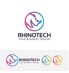 Rhino technology logo design vector