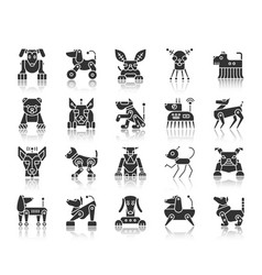 Robot dog black silhouette icons set vector