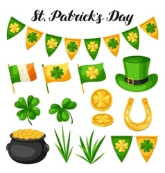 Saint Patricks Day objects Flag Ireland pot of vector image