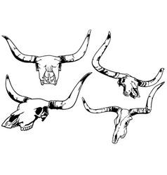 set bull skull vector image
