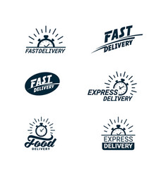 set delivery related color icons logos with vector image