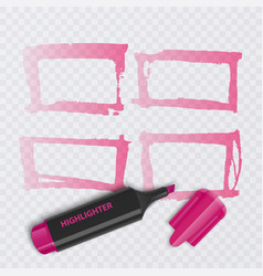 Set of colorful markers with highlighter elements vector