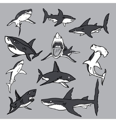Set of sea sharks EPS for T-shirts vector image vector image