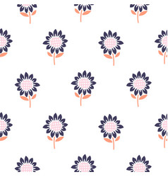Simple meadow florals tender colors seamless vector