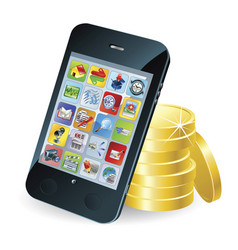 smart phone and coins vector image