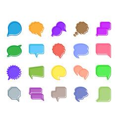 speech bubble color silhouette icons set vector image