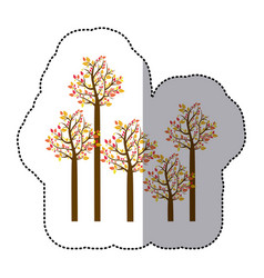 Sticker colorful autumn tree set collection vector