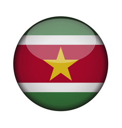 suriname flag in glossy round button of icon vector image