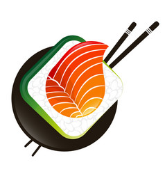 Sushi and rolls with chopsticks vector