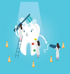 Teeth protection character funny brushing it self vector
