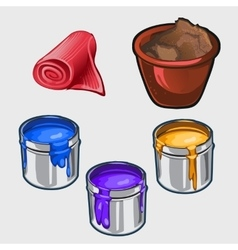 Three color interior paint tissue roll and pot vector image