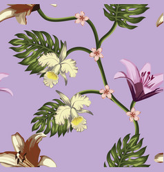 tropical flowers leaves seamless violet background vector image