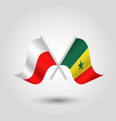 Two crossed polish and senegalese flags vector