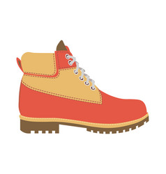 Warm winter boot with laces and fur wadding vector