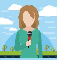 Woman journalist reporter vector