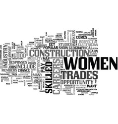 women build up their careers text word cloud vector image