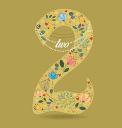 yellow number two with floral decor and necklace vector image